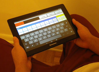 "Image: The ""Speak for Myself"" tablet-based communication application (Photo courtesy of Florida Atlantic University)."