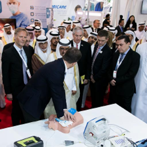 Image: American healthcare professionals meet with industry peers at the Arab Health 2017 congress (Photo courtesy of Kallman Worldwide).