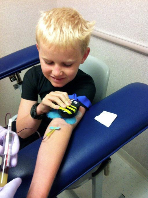Image: The Buzzy device helps children overcome the pain of IV insertion (Photo courtesy of MMJ Labs).