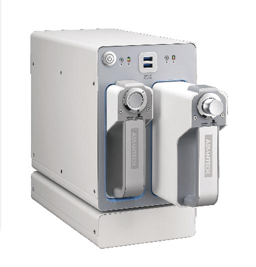 Image: The iPS-M100 medical grade power system charges two lithium-ion batteries (Photo courtesy of Advantech).