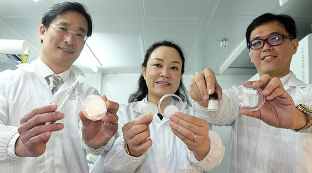 Image: Dr. Wong, Dr Choong, and Dr. Tan with samples of the ANGPTL4 products (Photo courtesy of NTU).