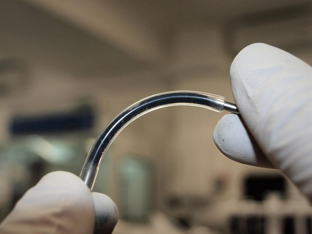 Image: A prototype flexible sensing element filled with graphene emulsion (Photo courtesy of the University of Sussex).