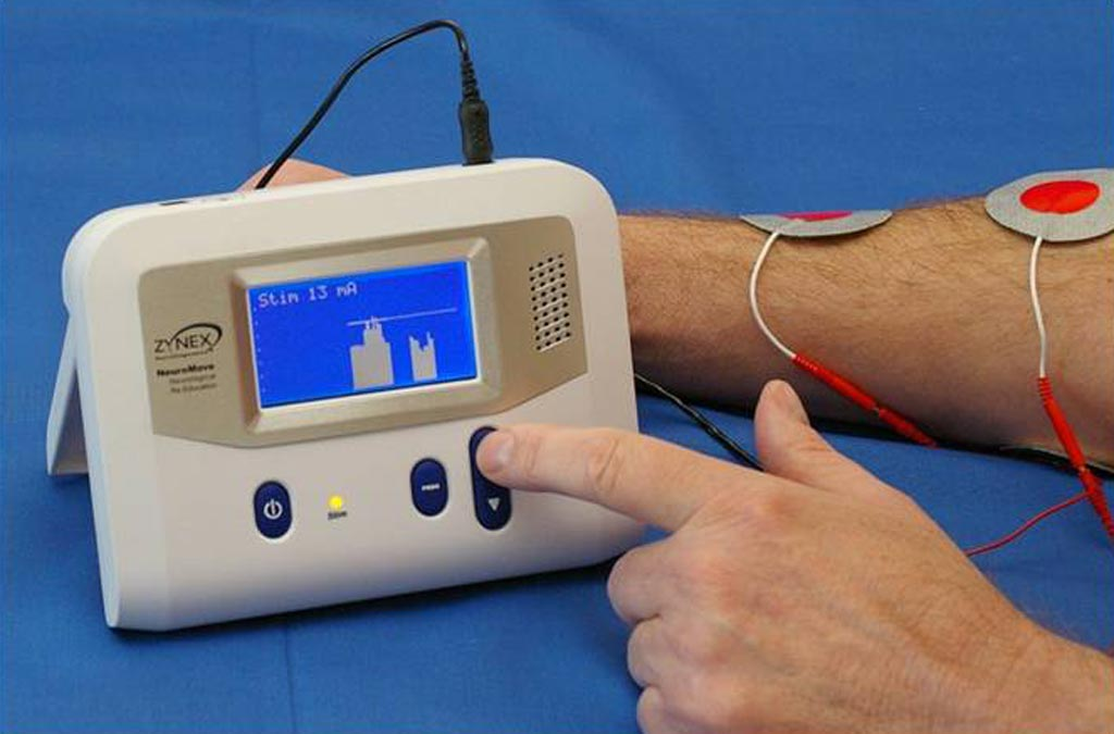 Image: An EMG feedback device helps stroke patients recover muscle control (Photo courtesy of Zynex).