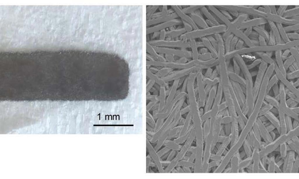 Image: Macroscopic (L) and scanning electron microscopy (R) images of a titanium fiber plate (Photo courtesy of Shinshu University).