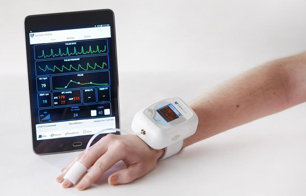 Image: The Caretaker4 CNIBP wireless vital signs monitor with disposable finger cuff (Photo courtesy of Caretaker Medical).