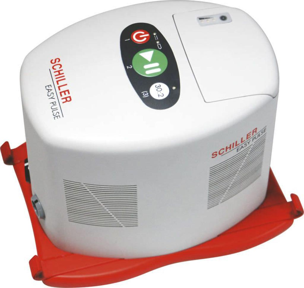 Image: The Easy Pulse CPR compression device (Photo courtesy of Schiller).