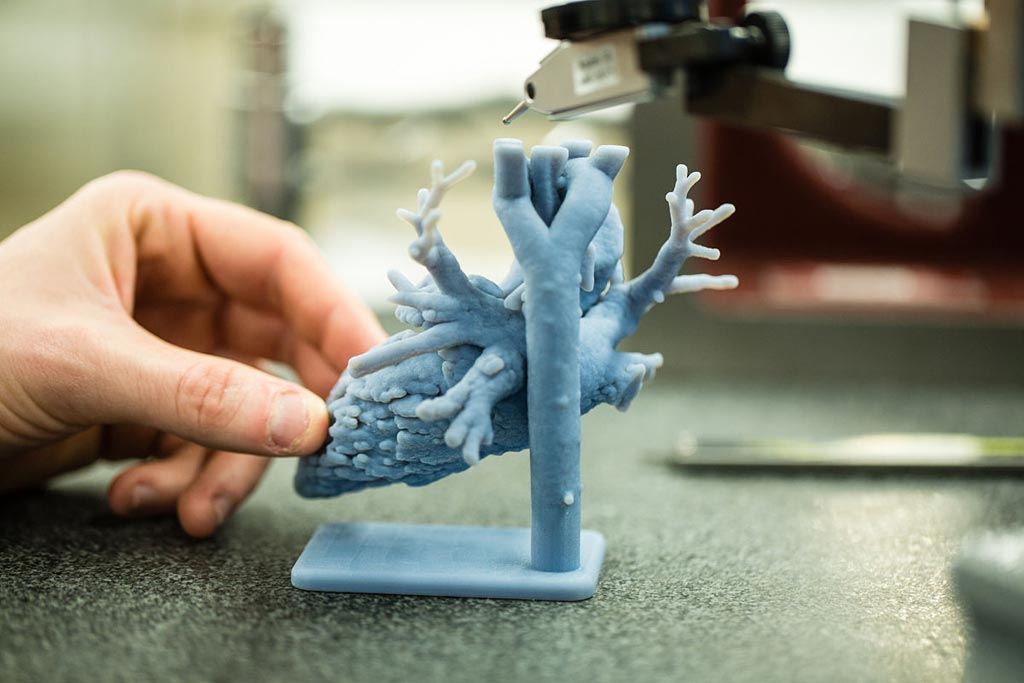 Image: At MEDICA, Stratasys showed how 3D printed models are improving patient outcome and hospital efficiency, while also offering live on-stand medical 3D printing (Photo courtesy of Stratasys).