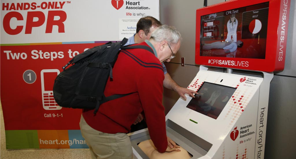 Image: An airport hands-only CPR kiosk (Photo courtesy of the American Heart Association).