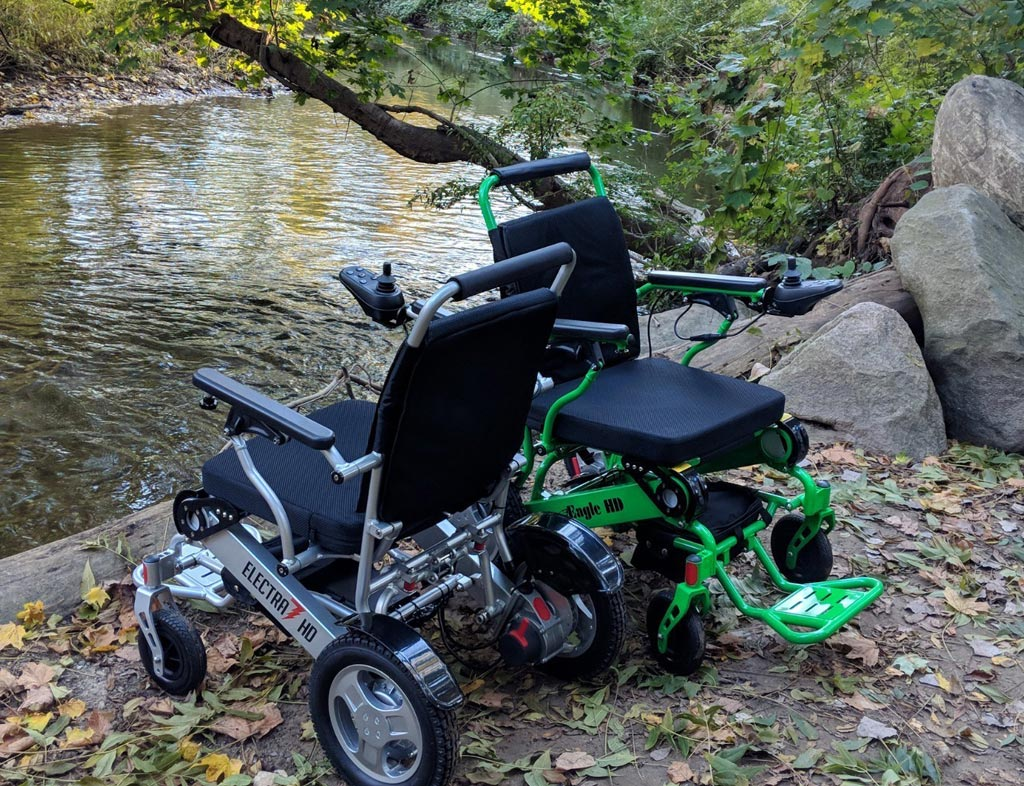 Image: The Eagle and Electra7 folding power wheelchairs (Photo courtesy of Quick N Mobile).