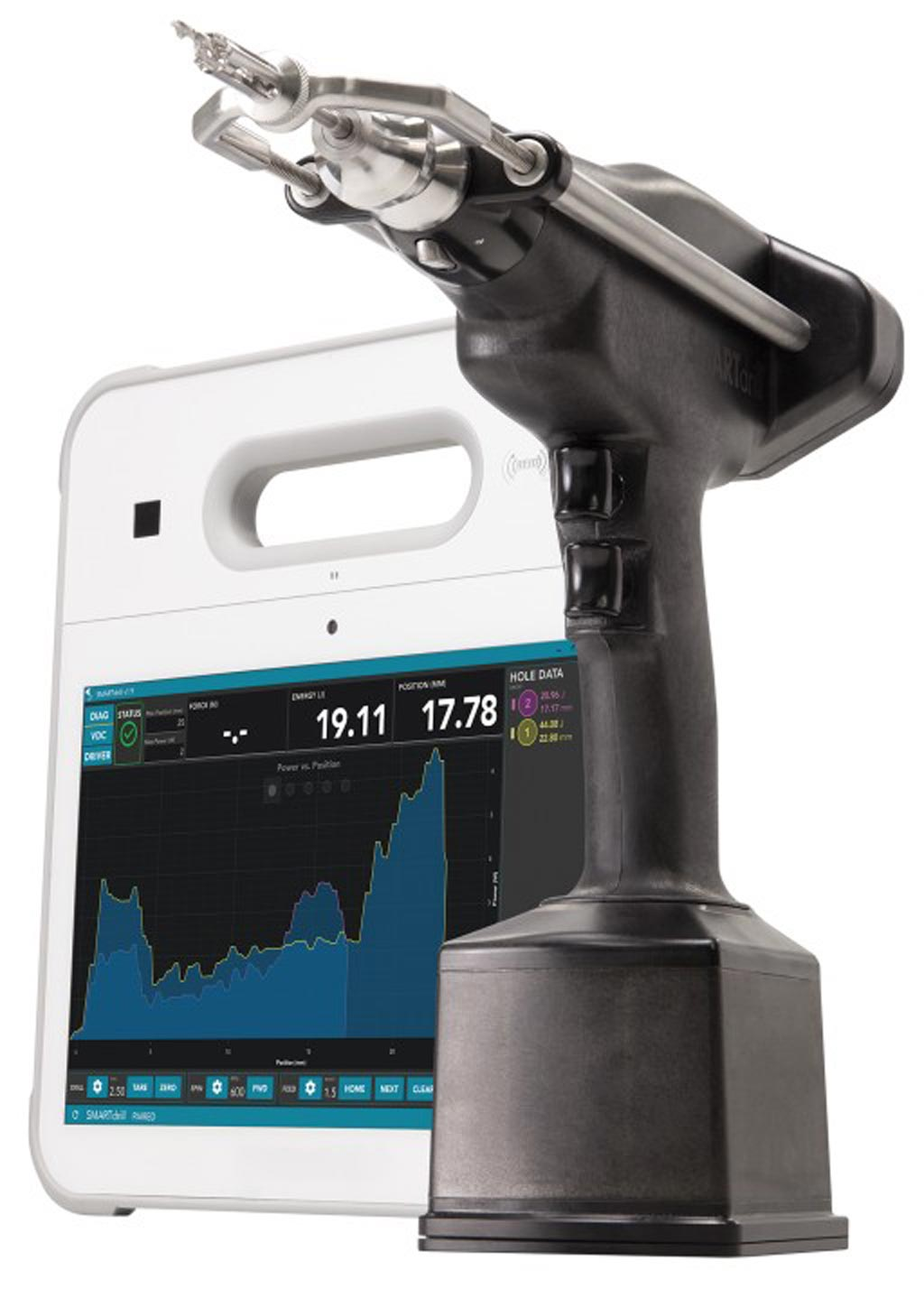 Image: The SMARTdrill 6.0 and its GUI (Photo courtesy of Smart Medical Devices).