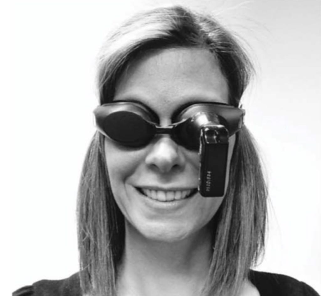 "The ""dizzy cam"" goggles developed by Dr. Welgampola (Photo courtesy of Neurology)."