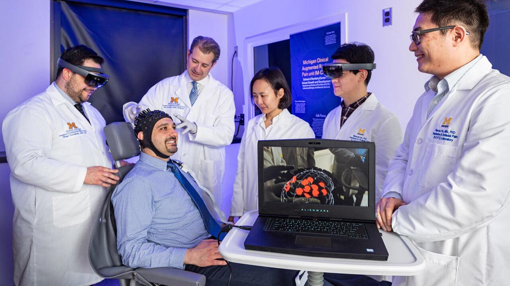 Image: A sensor-outfitted cap detects changes in blood flow and oxygenation, thus sensing brain activity (Photo courtesy of U-M).