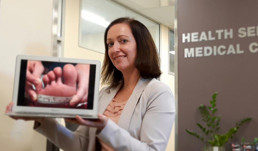 "Image: Dr. Kara Burns and a medical ""selfie"" (Photo courtesy of Kara Burns)."