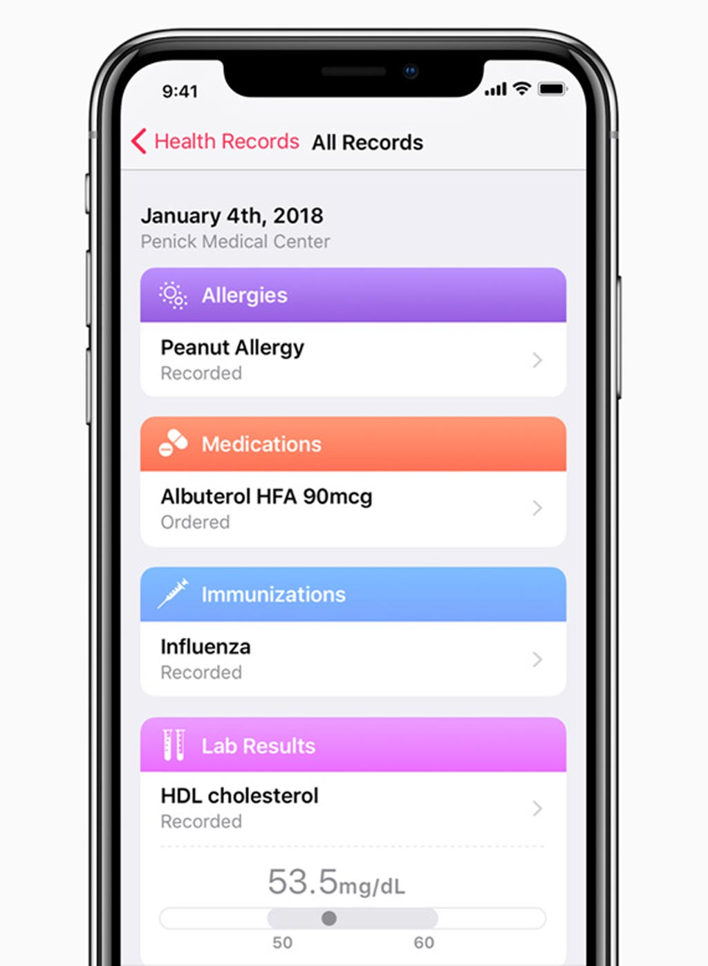 Image: Apple PHR organizes Medical records into a clear, easy to understand timeline view (Photo courtesy of Apple).
