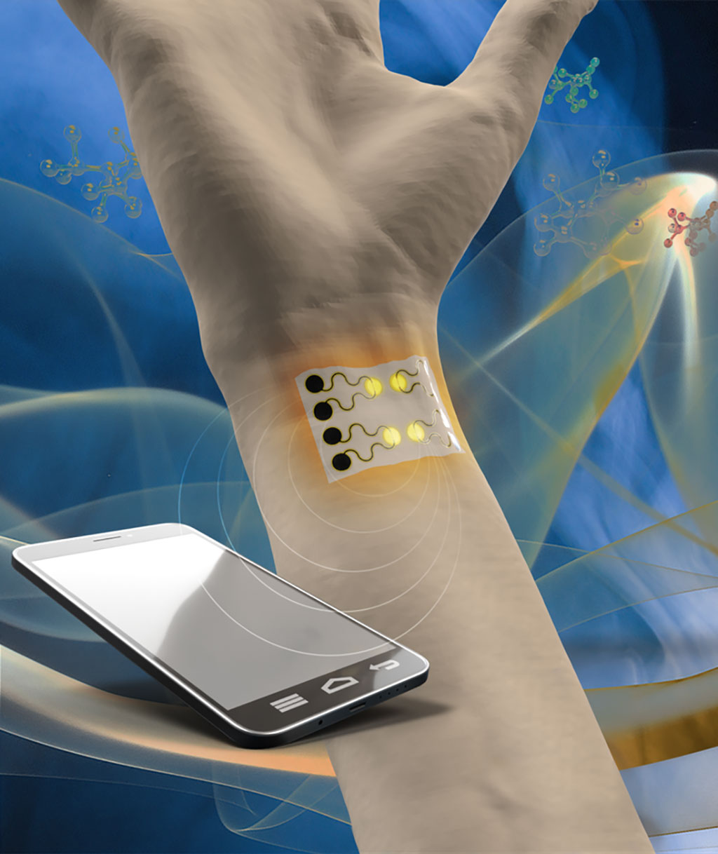 Image: A wearable sensor monitors various gases (Photo courtesy of Cheng lab/ PSU)