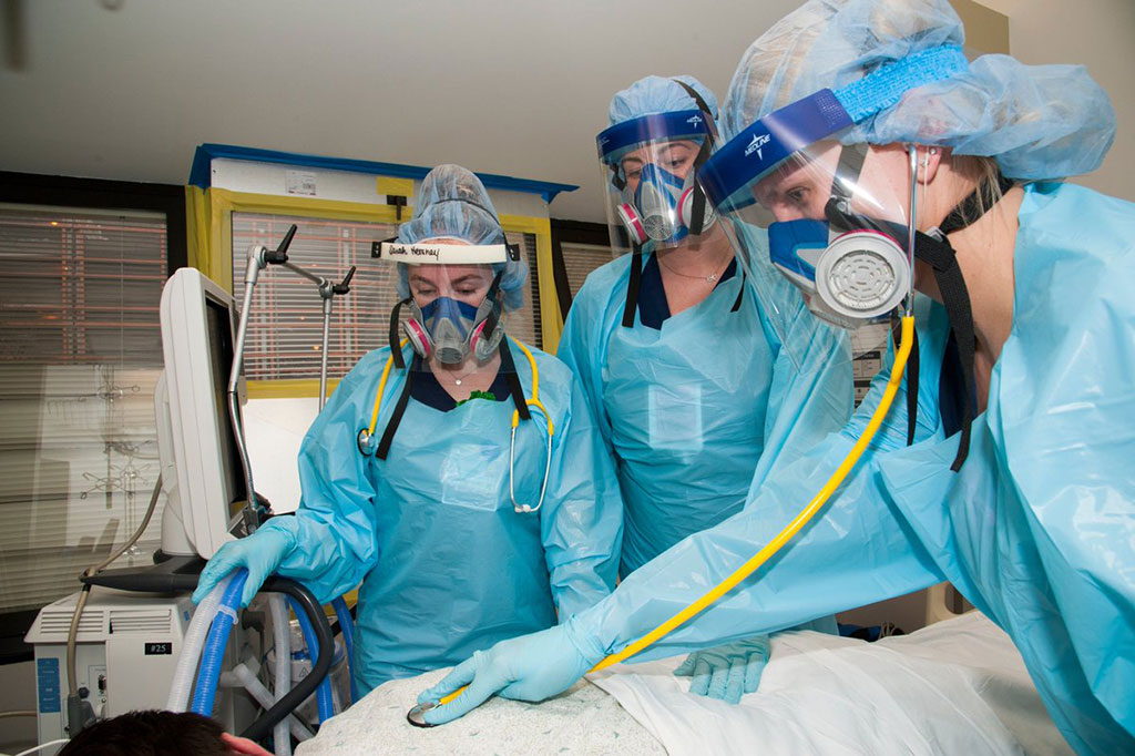 Image: Nurses at an AHN ICU wearing elastomeric masks (Photo courtesy of Highmark Health)