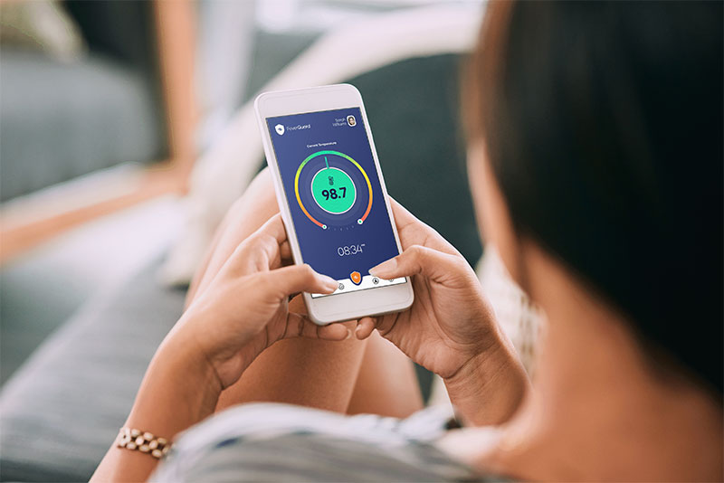 The FeverGuard app warns of rising body temperatures (Photo courtesy of Solos Health Analytics)