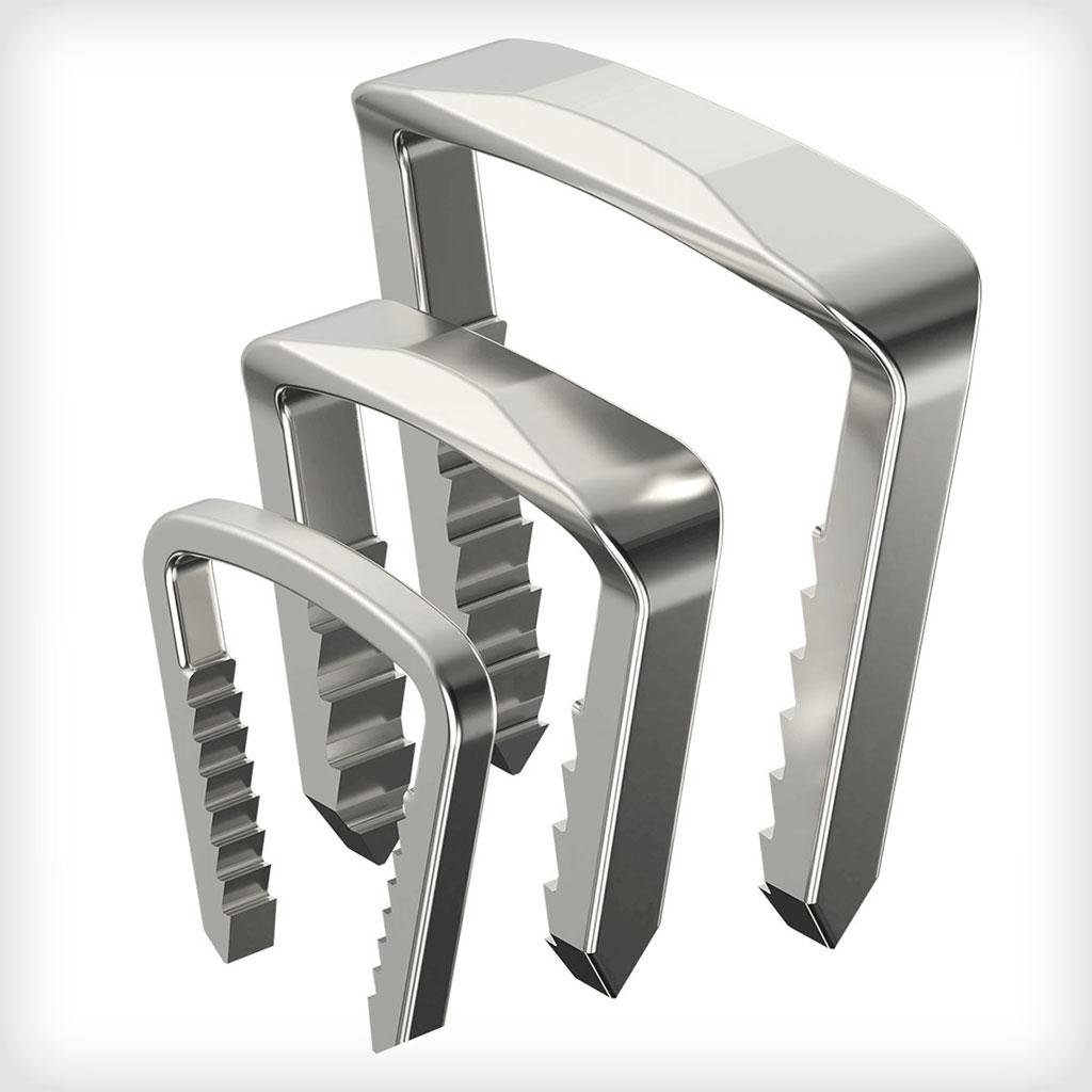 Image: The Reflex nitinol staple system (Photo courtesy of Medline)