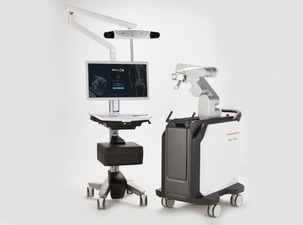 Image: The CUVIS-Spine spinal surgery robot main console (L) and robotic arm (R) (Photo courtesy of Curexo)
