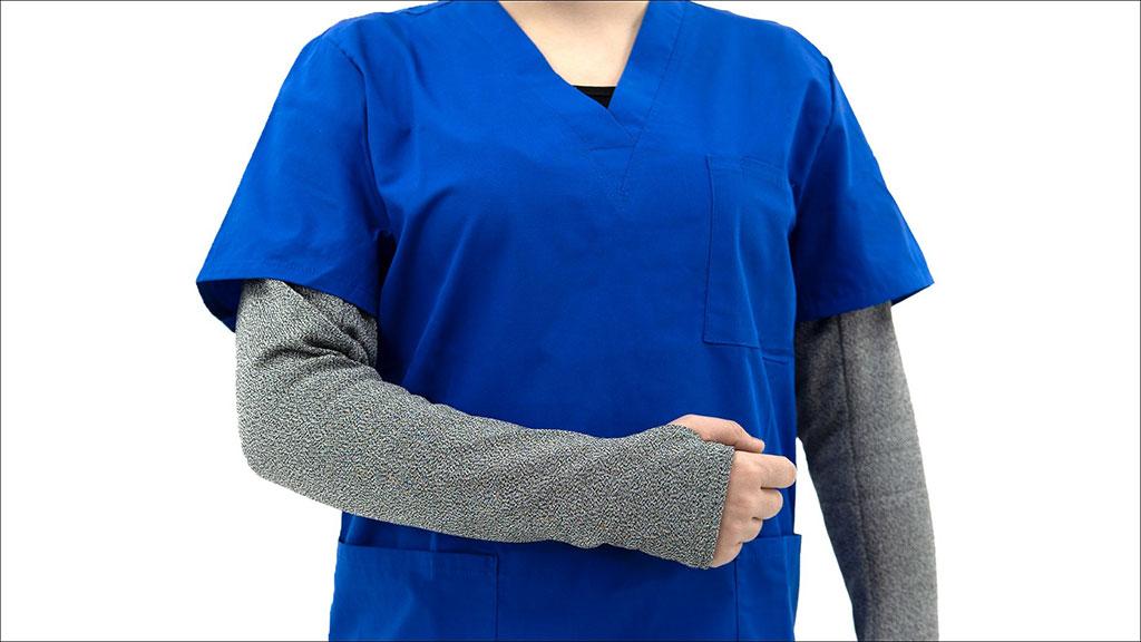 Image: BitePRO Version 4 bite resistant armguards worn by a nurse (Photo courtesy of BitePRO)