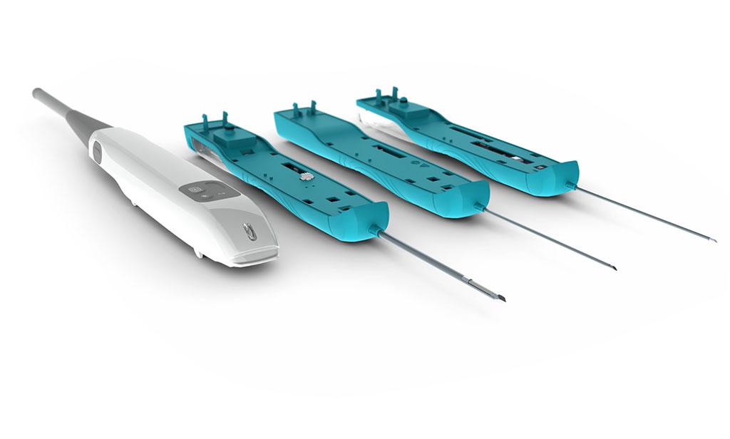 Image: The NeoNavia USG biopsy system handheld driver and biopsy needles (Photo courtesy of NeoDynamics)