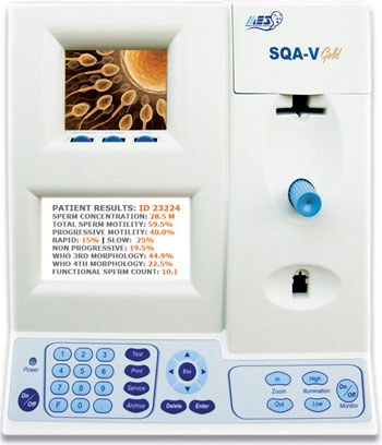 Image: The SQA-V Gold with V-Sperm Gold (Photo courtesy of Medical Electronic Systems).