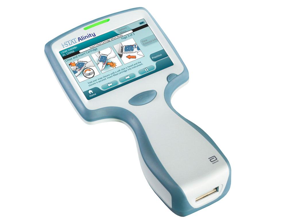 Image: The easy-to-use i-STAT Alinity handheld operates with the advanced technology of single-use i-STAT test cartridges (Photo courtesy of Abbott).