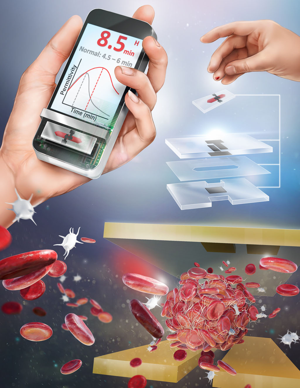 图片:便携式ClotChip将进行临床试验,进一步评估其在床旁护理中快速检测凝血的能力是否与实验室检查有可比性(照片由Case Western Reserve University提供)。