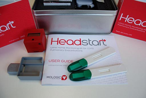 Image: The Headstart test screens urine for biomarkers, and works like a rapid diagnostic test for people with chronic obstructive pulmonary disease (Photo courtesy of Mologic).