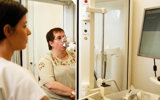 Image: A patient undergoing a breath test for chronic obstructive pulmonary disease and other lung diseases (Photo courtesy of Professor Malcolm Kohler, MD).