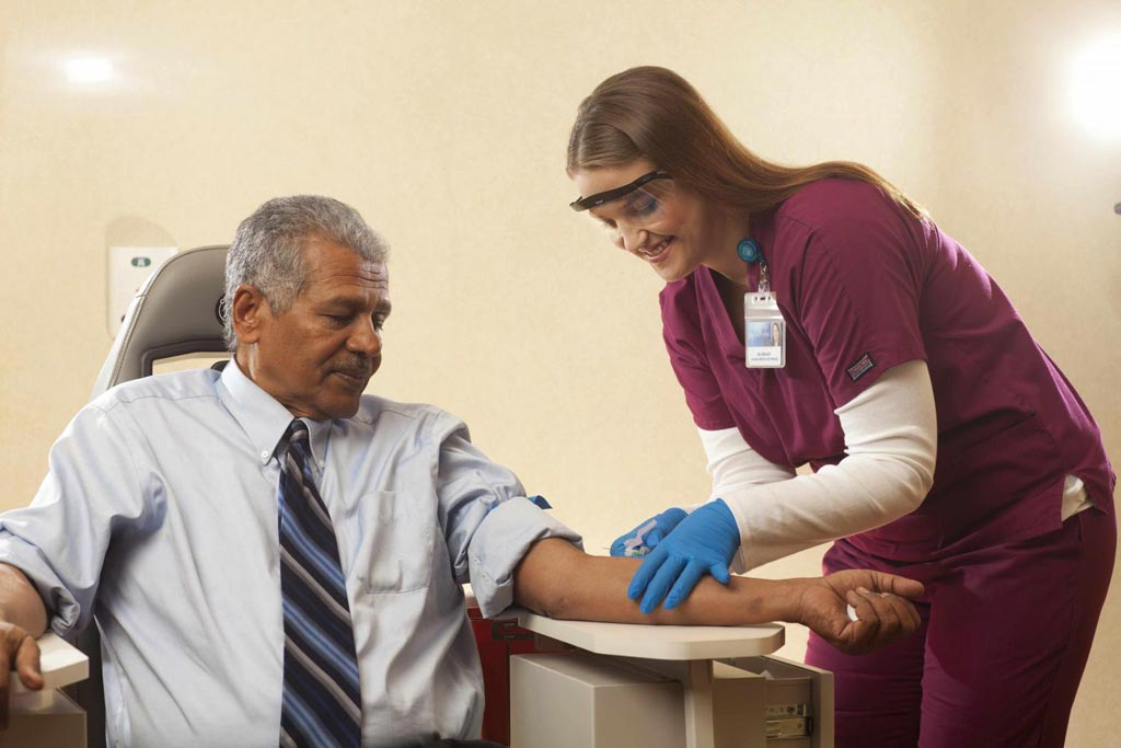 Image: A health professional takes blood from a patient for the carcinoembryonic antigen (CEA) test (Photo courtesy of Mayo Clinic).