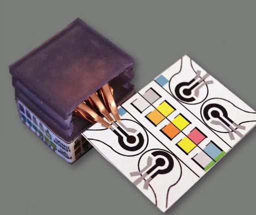 Image: Paper-based diagnostic device that detects biomarkers and identifies diseases by performing electrochemical analyses. The assays change color to indicate specific test results. The device can be plugged into the handheld potentiostat, at left (Photo courtesy of Purdue University, Aniket Pal).