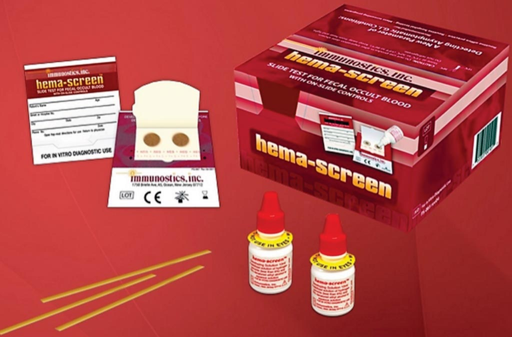 Image: The hema-Screen Specific kit for the rapid and qualitative determination of Occult Human Blood in fecal samples (Photo courtesy of Immunostics).