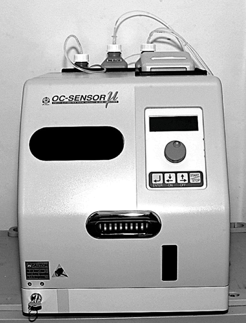 Image: The OC-Sensor apparatus used for the quantitative fecal immunochemical test screening for colorectal cancer (Photo courtesy of Eiken).