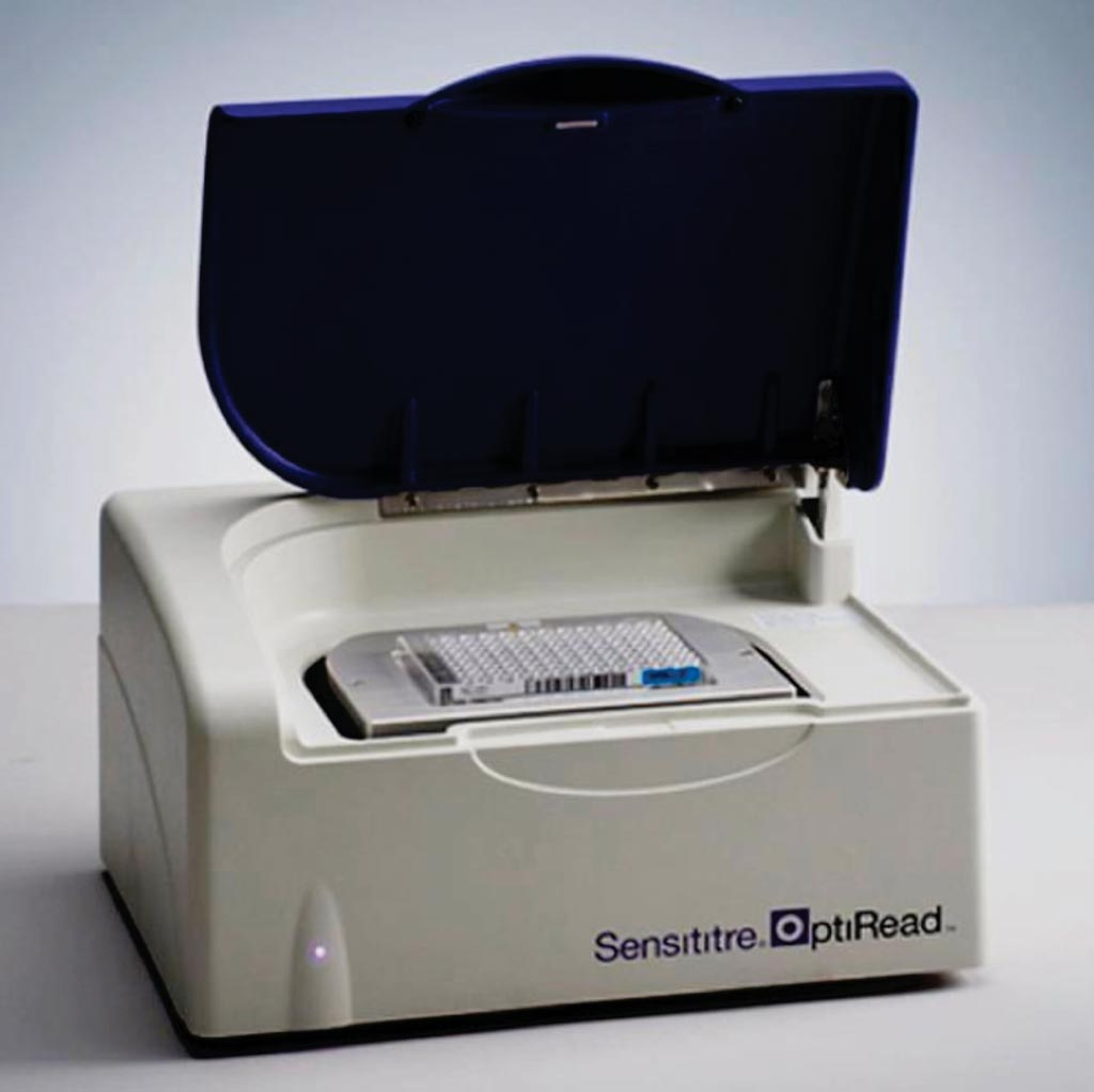 Image: The Sensititre OptiRead automated fluorometric plate reading system for use with Sensititre microtiter plates in antibiotic susceptibility tests (Photo courtesy of Thermo Fisher Scientific).