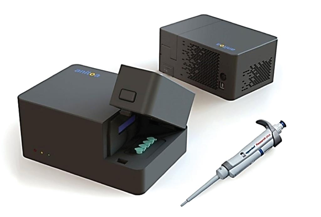Image: The Maverick portable quadruplex PCR system (Photo courtesy of Anitoa Systems).