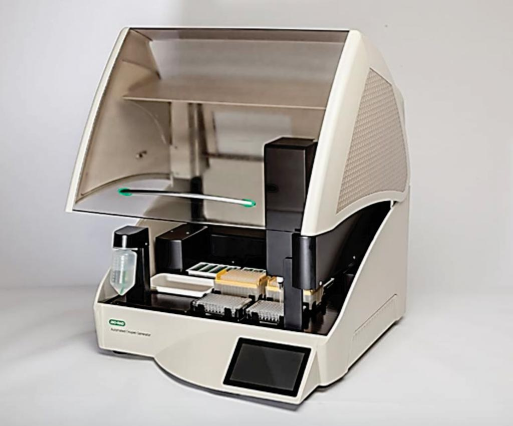 Image: The QX200 AutoDG automated droplet generator, part of the Bio-Rad QX200 PCR System (Photo courtesy of Compass Design).