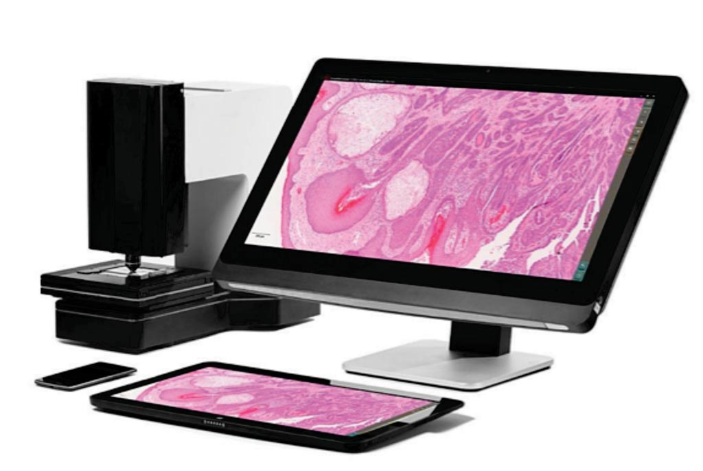 Image: The M8 serves as a dual microscope and scanner with all features accessible via a touch screen computer, making it a truly digital microscope (Photo courtesy of PreciPoint).