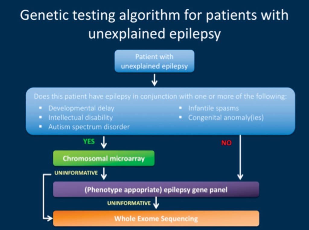 Image: A suggested workflow of genetic testing in a person with unexplained epilepsy. Genetic tests should be re-interpreted at least every two years for pediatric patients with epilepsy (Photo courtesy of International League Against Epilepsy).