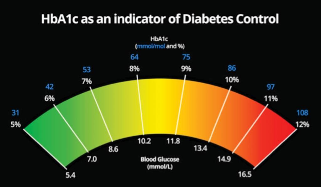 Image: Glycated hemoglobin (HbA1c) as an indicator of diabetes (Photo courtesy of Diabetes.co.uk).