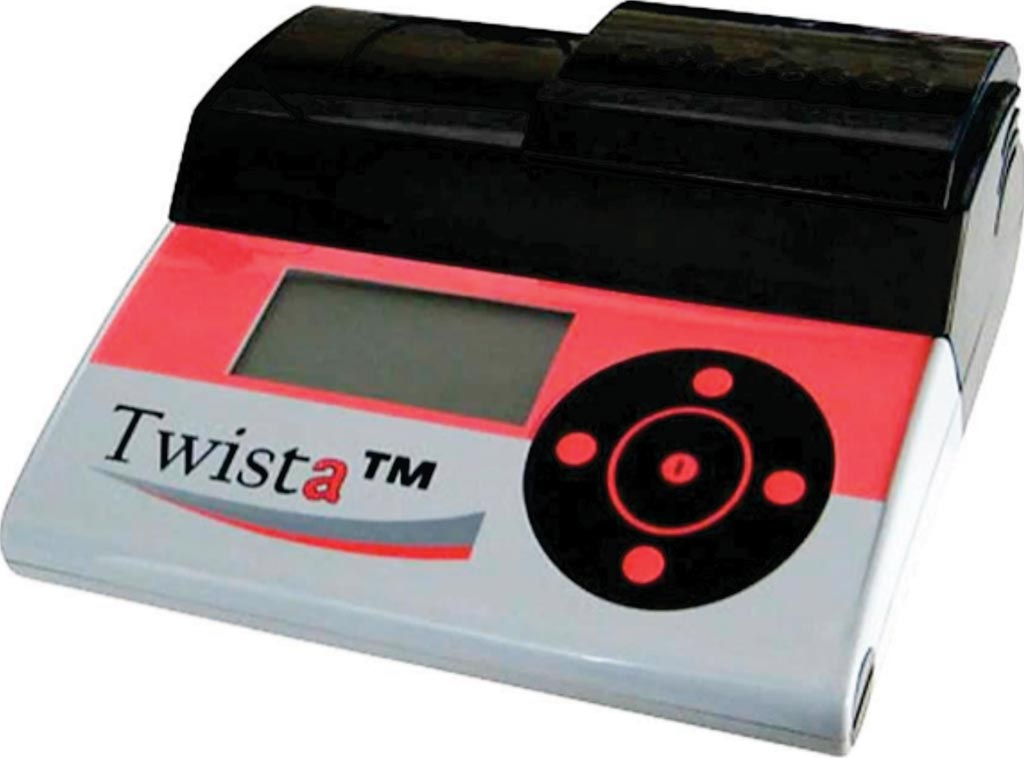 Image: The Twista device allows portable, two channel fluorometric detection of eight Recombinase Polymerase Amplification (RPA) reactions (Photo courtesy of TwistDx).
