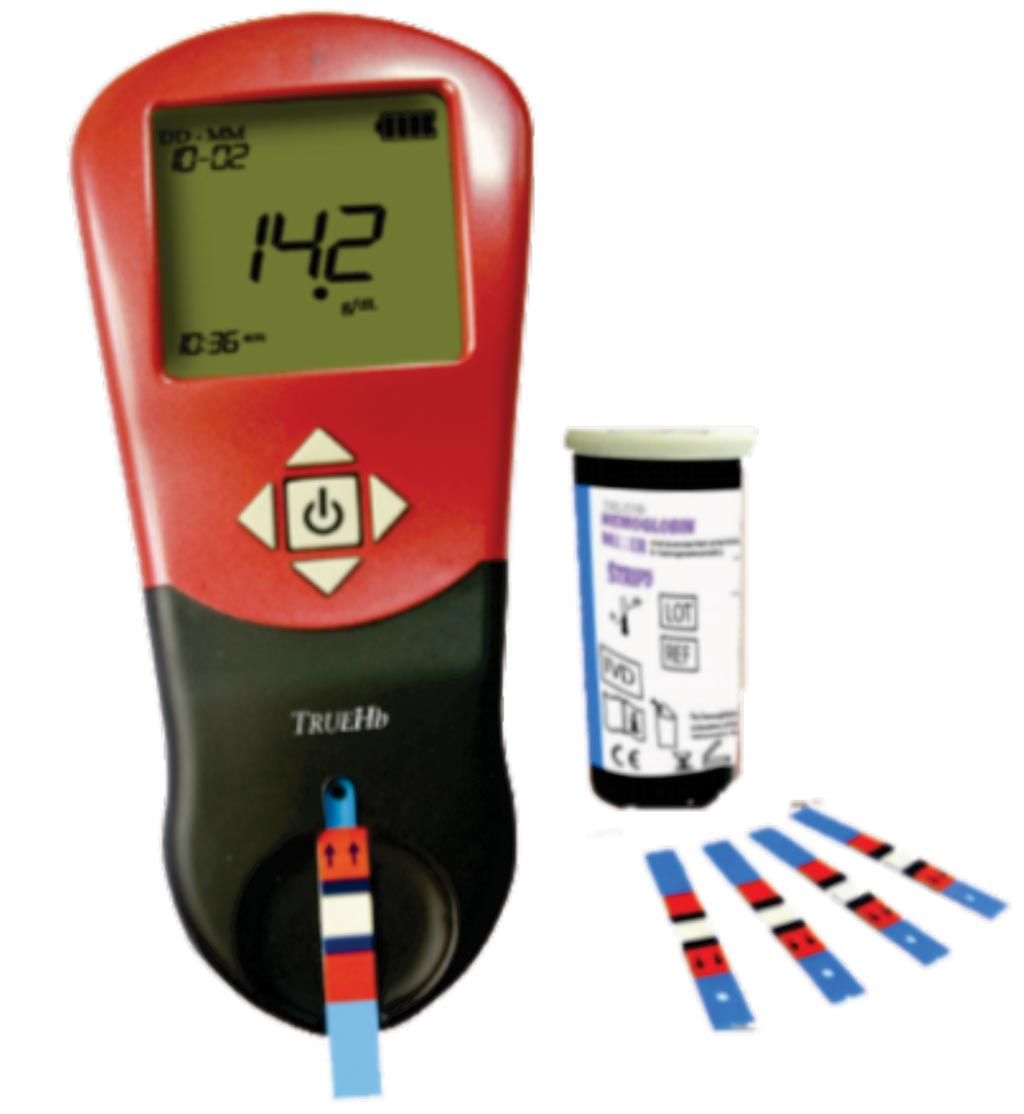 Image: The TrueHb hemometer for hemoglobin measurement (Photo courtesy of Wrig Nanosystems).