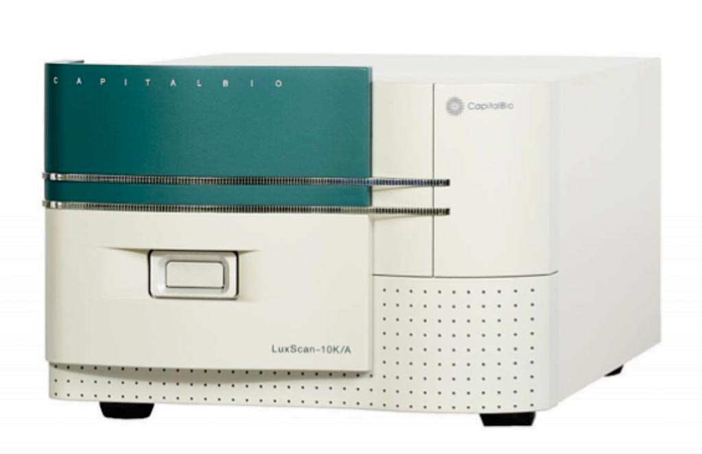 Image: The LuxScan 10K-B confocal laser scanner for microarray imaging and data analysis of DNA, protein, cell and tissue arrays (Photo courtesy of Capital Bio).