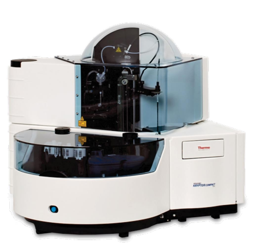 Image: The KRYPTOR compact PLUS fully automated random access immunoassay analyzer (Photo courtesy of BRAHMS).