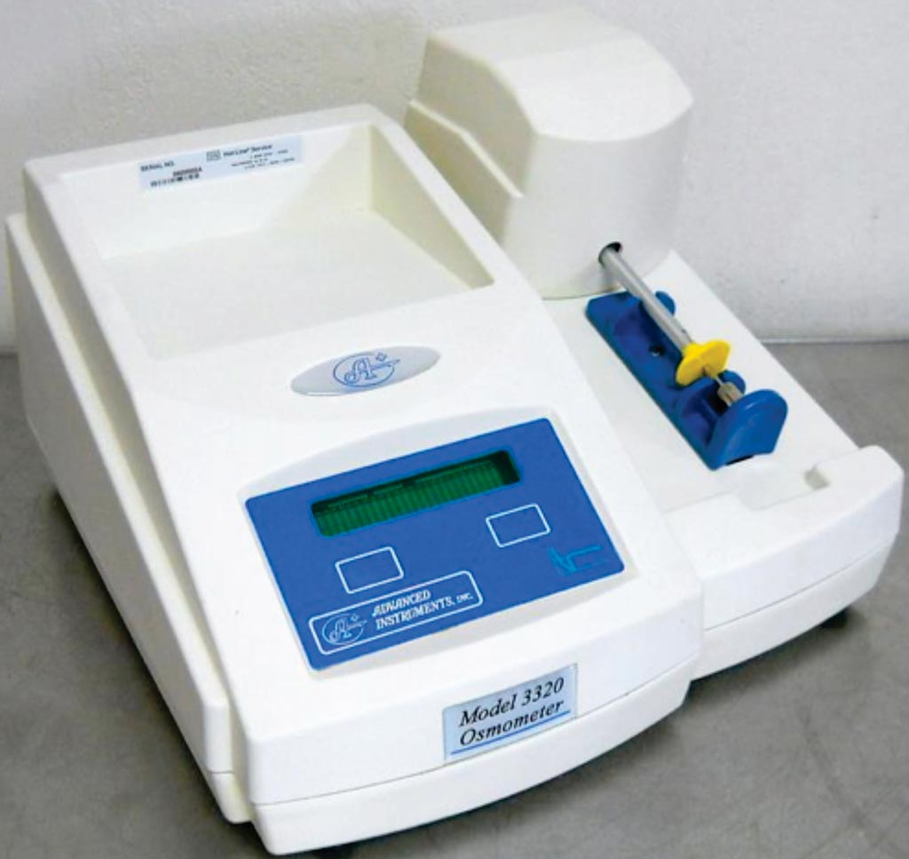 Image: The 3320 osmometer used to assess urine osmolality, a measure of urine concentration and hydration (Photo courtesy of Advanced Instruments).