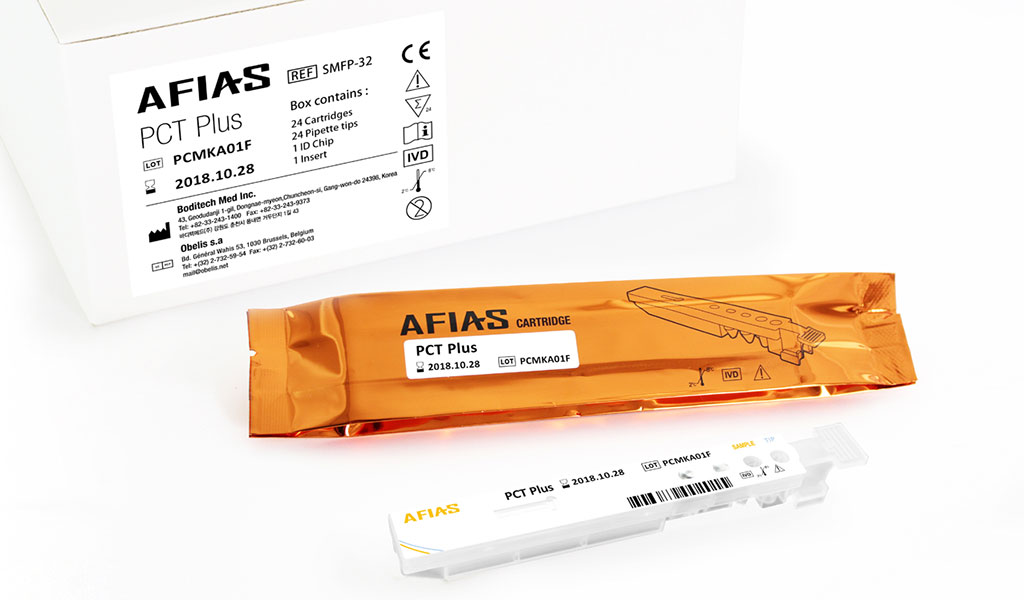 The AFIAS PCT Plus is a fluorescence immunoassay (FIA) for the quantitative determination of Procalcitonin (PCT) in human whole blood / serum / plasma. It is useful as an aid in management and monitoring of bacterial infection and sepsis. (Photo courtesy of Boditech).