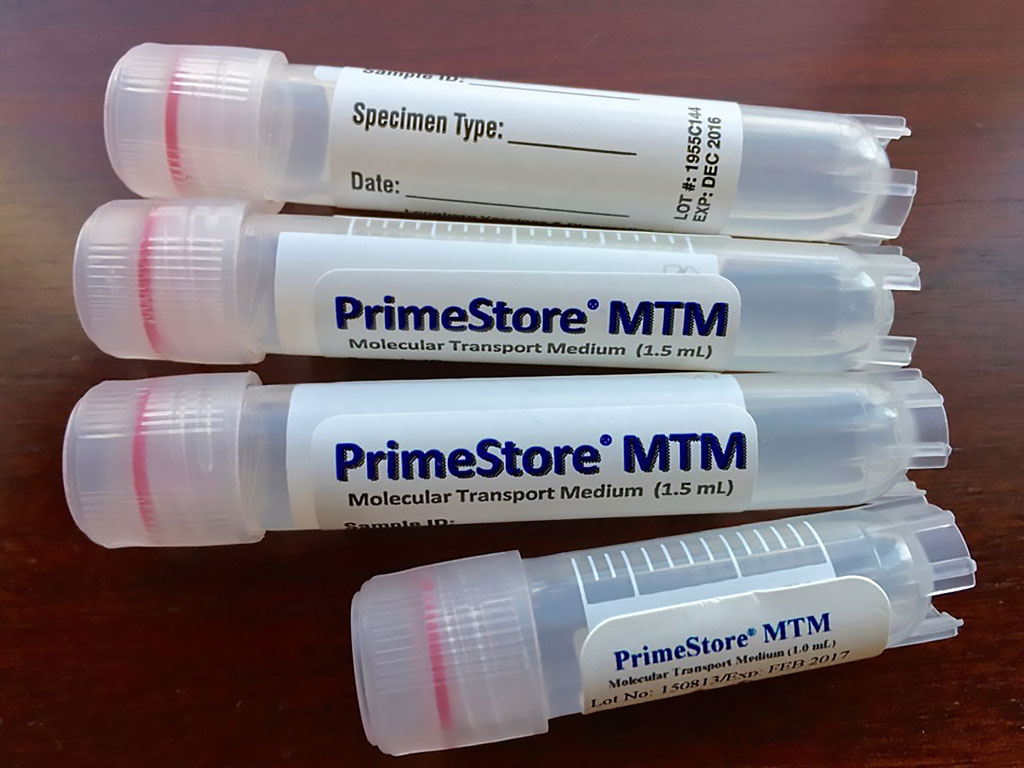 Image: PrimeStore Molecular Transport Medium (MTM) is the first molecular transport device designed to inactivate pathogens and stabilize both RNA and DNA for downstream molecular testing and characterization (Photo courtesy of Longhorn Vaccines and Diagnostics).