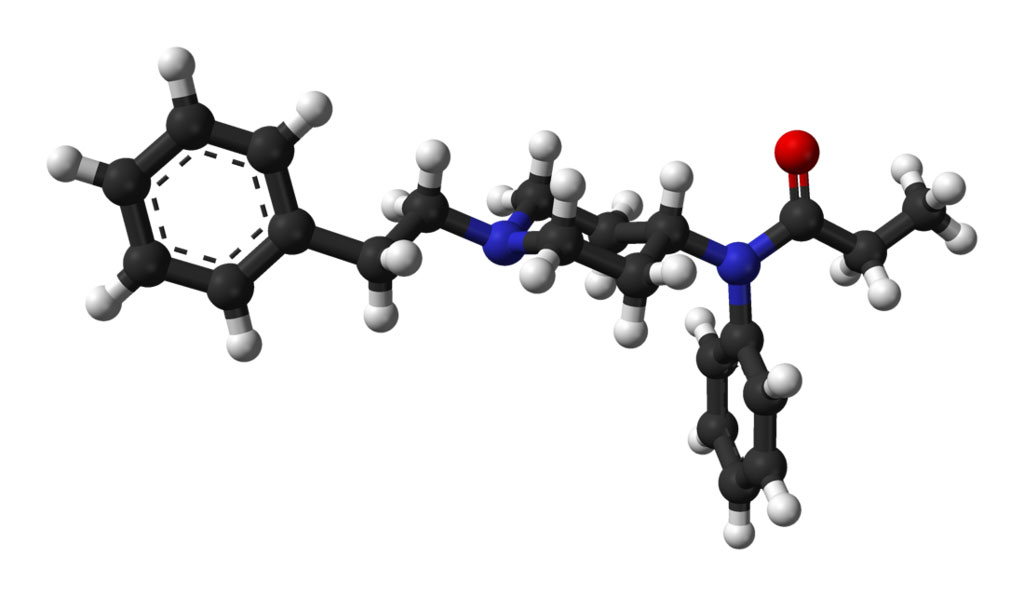 Image: Ball-and-stick model of the fentanyl molecule in the crystal structure of fentanyl citrate-toluene solvate (Photo courtesy of Wikimedia Commons)