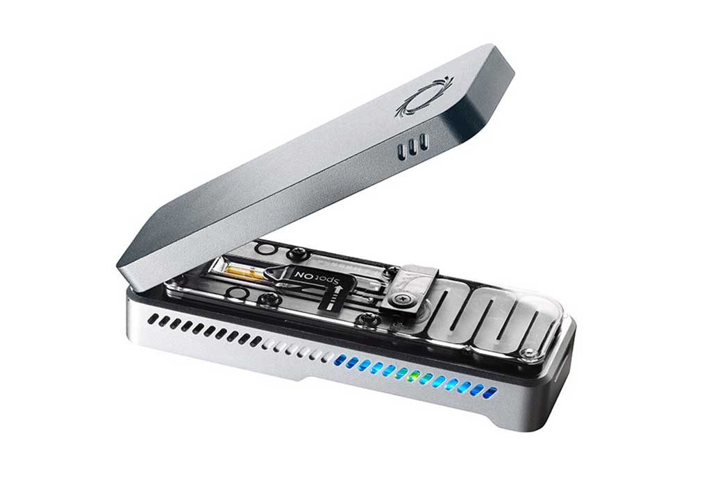 Image: The Oxford Nanopore MinION device (Photo courtesy of Oxford Nanopore Technologies).