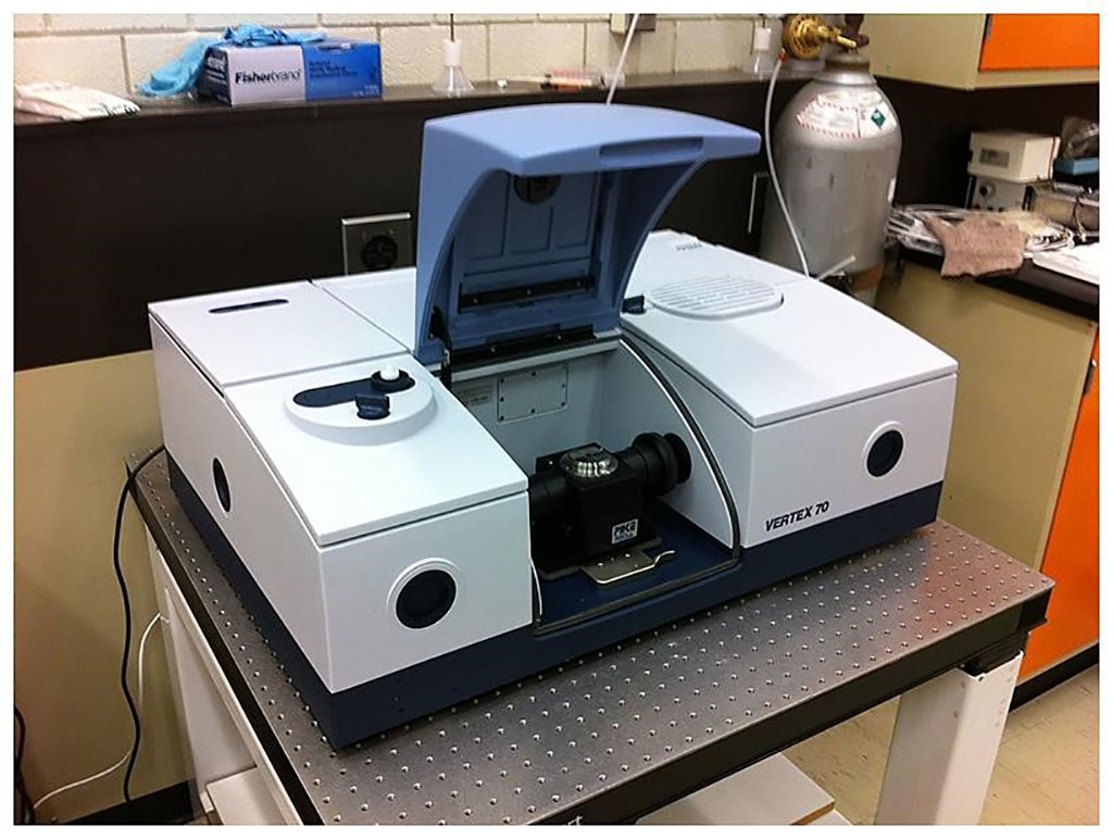 Image: The Vertex 70 Attenuated Total Reflectance Fourier Transform Infrared (ATR-FTIR) spectrophotometer (Photo courtesy of the University of Guelph).